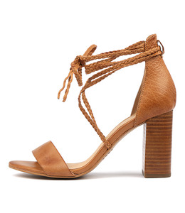 YAHYA Heeled Sandals in Dark Tan Leather