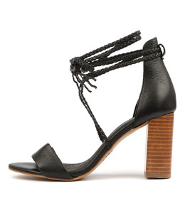 YAHYA Heeled Sandals in Black Leather