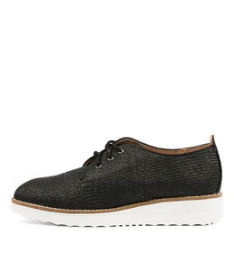 OOPLE Flatforms in Black Raffia