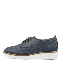 OOPLE Flatforms in Navy Raffia