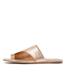 LENE Sandals in Peach Metallic Crumble Leather