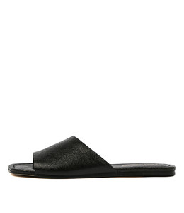 LEONCE Sandals in Black Metallic Crumble Leather