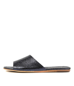 LEONCE Sandals in Navy Metallic Crumble Leather