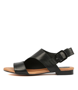 POLITELY Sandals in Black Leather