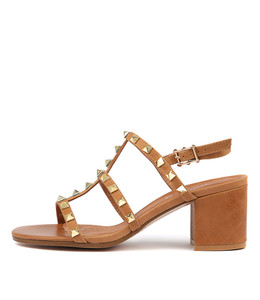 ROGER Heeled Sandals in Tan Leather