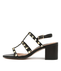 ROGER Heeled Sandals in Black Leather