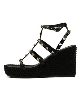 ANNORA Platform Wedge Sandals in Black Leather