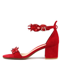 RAYMON Heeled Sandals in Red Suede