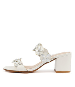 REGINAL Heeled Sandals in White Leather