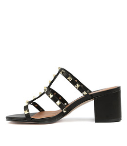 RUEBEN Heeled Sandals in Black Leather