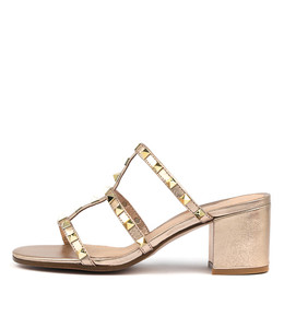 RUEBEN Heeled Sandals in Rose Gold Leather