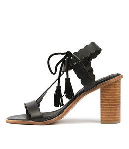 ZANDRA Heeled Sandals in Black Leather