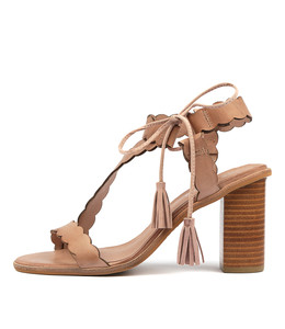 ZANDRA Heeled Sandals in Nude Leather