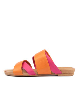 CHARLS Sandals in Bright Orange/ Fuchsia Leather