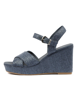 ALESIA Wedge Sandals in Navy Raffia