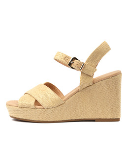 ALESIA Wedge Sandals in Natural Raffia