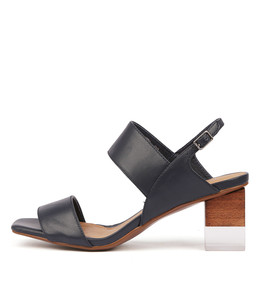 SHENTEL Heeled Sandals in Navy Leather