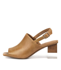 SHERRON Heeled Sandals in Tan Leather