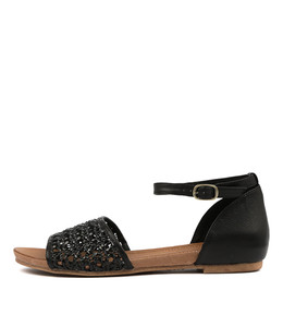 CHIMERE Sandals in Black Weave/ Leather