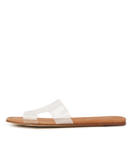 LEAMON Sandals in Clear Vinylite/ Tan Leather