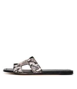 LEAMON Sandals in Black/ White Python Leather