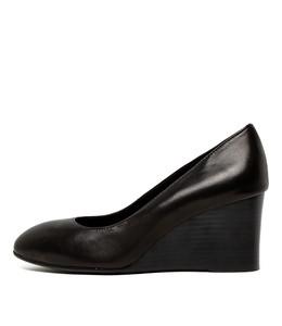 MELVINA Wedge Heels in Black Leather