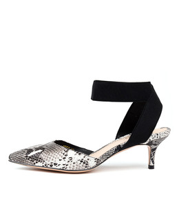 COTY Mid Heels in Black/ White Python Leather