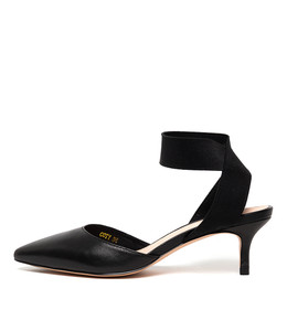 COTY Mid Heels in Black Leather