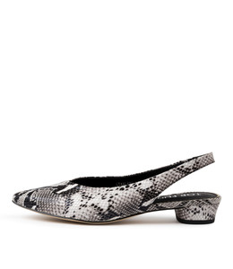 STANLEYS Mid Heels in Black/ White Python Leather
