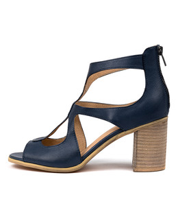 WINFOLM Heeled Sandals in Navy Leather