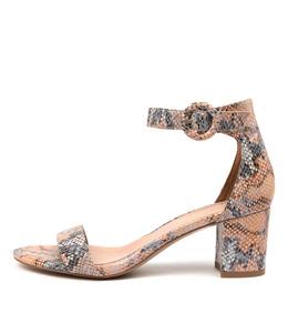 GRAFTONS Heeled Sandals in Denim/ Tan Snake Leather