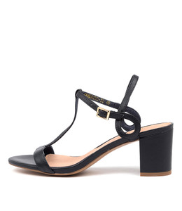 GENEROUS Heeled Sandals in Navy Leather