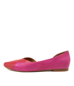 SARA Flats in Red/ Multi Leather