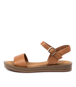 FEISTY Sandals in Dark Tan Leather