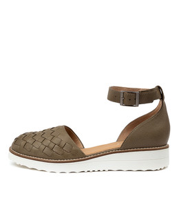 OGAL Flats in Khaki Leather