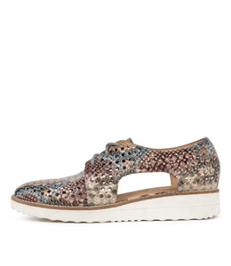 ONSTAGE Flatforms in Pink/ Multi Python Leather