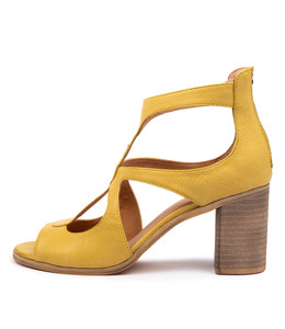 WINFOLM Heeled Sandals in Yellow Leather