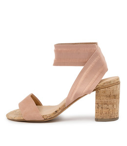 WOODSON Heeled Sandals in Blush Suede
