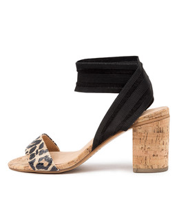 WOODSON Heeled Sandals in Ocelot/ Black Leather