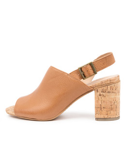 WILLDO Heeled Sandals in Dark Tan Leather