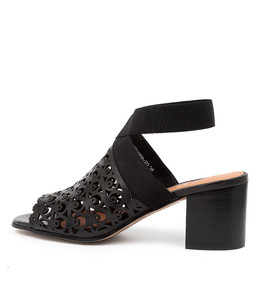 ROBBER Heeled Sandals in Black Leather
