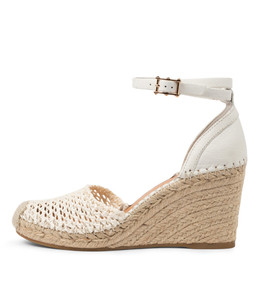MINORITY Espadrille Wedges in White Leather