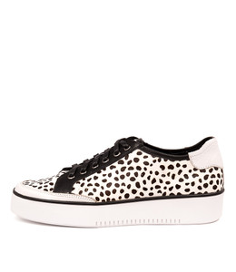 LELAND Sneakers in White/ Black Pony Hair