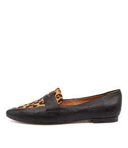 SUTTON Flats in Black/ Ocelot Leather