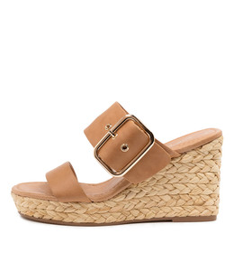 ANGELS Espadrille Wedges in Tan Leather