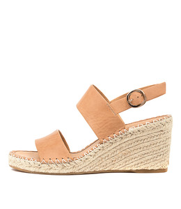 GAGA Espadrille Wedges in Tan Leather