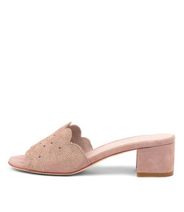 ADINA Heeled Sandals in Rose Suede