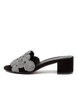 ADINA Heeled Sandals in Black Suede