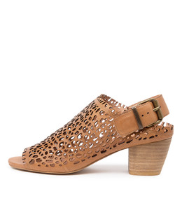 BAYLONS Heeled Sandals in Dark Tan Leather