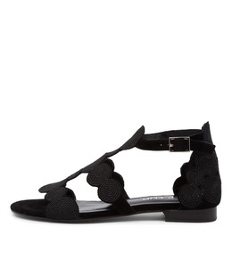 PRINCED Sandals in Black Suede